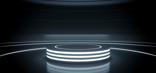Sci Fi Modern Hi Tech Empty Podium Lighter Round Circle Stage In Dark Reflective Room With Neon Glowing Circle Lines Product Showcase 3D Rendering