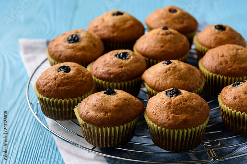 Homemade buckwheat muffins with blueberries.