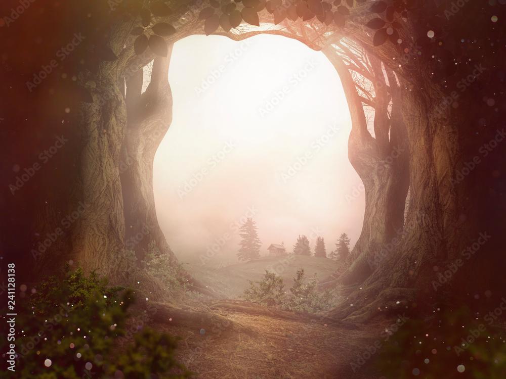 Fototapeta fairy tale background trees forrest sun dust landscape