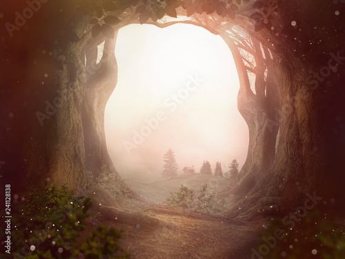 Photo fairy tale background trees forrest sun dust landscape