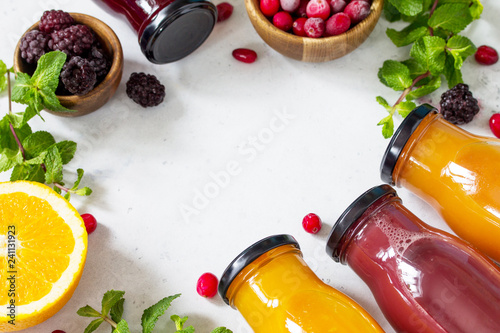 Healthy Juicy Vitamin Drink Diet or Vegan Food Concept, fresh fruit and berry. Copy space.