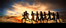 Marathon, Silhouettes Of Runners On The Sunset
