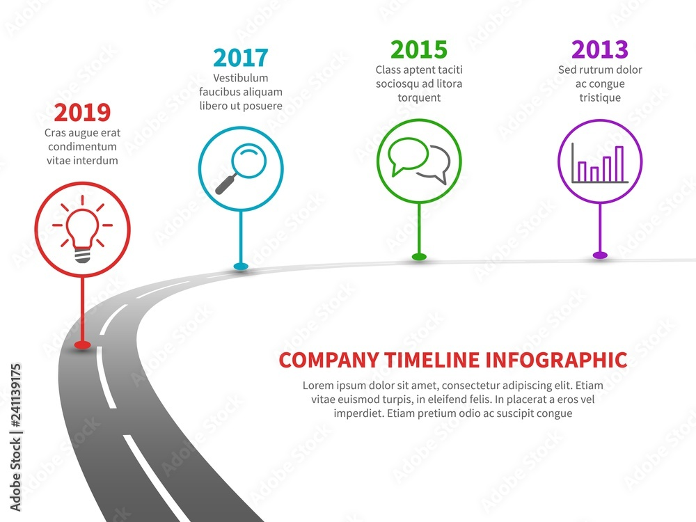 Fototapeta Timeline road infographic. Strategy process to success roadmap with history milestones. Business planning template