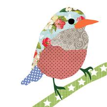 Collage Style Bird. Patchwork ...