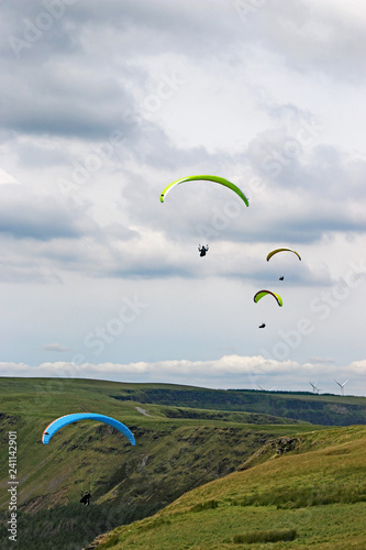 Paragliders in the Brecon Beacons, Wales
