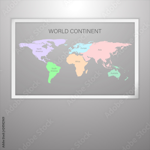 Continent world map in frame on grant gray wall, picture ... on maps in text, maps in art, maps in home, maps in paintings, maps in paper, maps in wood,