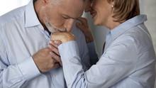 Elderly Male Kissing Woman Hand, Lady Putting Head Against His Cheek, Romance