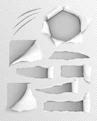 Torn Paper Realistic Transparent Set