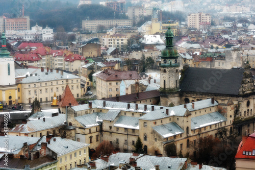 Fotobehang Algerije Ancient Lviv view from height. Nice view of the ancient city, a tourist place.