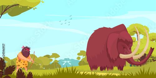 Mammoth Hunt Cartoon Poster