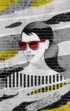 Woman Face Fashion Collage On Brick Wall. Paper Collage In Graffiti Art Style With Different Patterns.