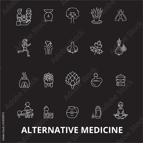 Fotografie, Obraz  Alternative medicine editable line icons vector set on black background