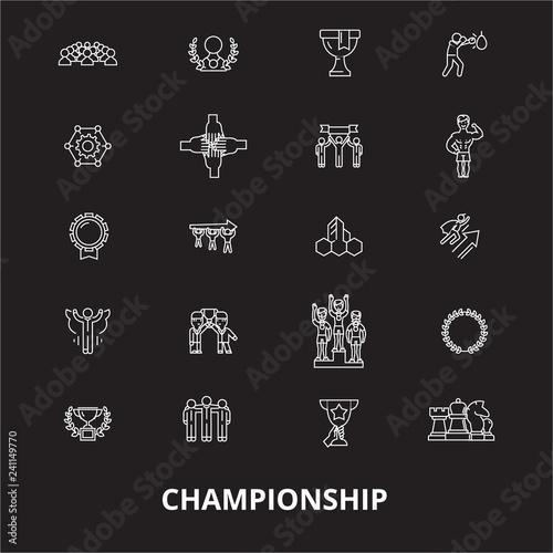 Fotografía  Championship editable line icons vector set on black background