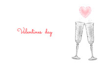 Two Glasses Of Champagne With Sparkles. Low Poly Polygonal White 3D Toasting Romantic Love Date. Heart Shape Tender Dating Chin-chin Couple Valentine Day Vector Illustration