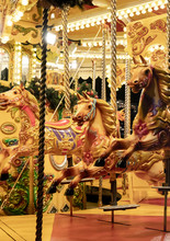 At Night Time Merry-go-around Shiny Gold Horse Ride