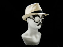 Styrofoam Head With A Straw Male Summer Hat And Glasses With Moustache On Black Background Right Side