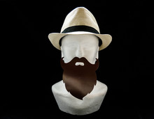 Styrofoam Head With A Straw Male Summer Hat With Black Long Moustache And Beard On Black Background