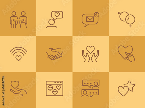 Fotografia, Obraz Relationships line icon set
