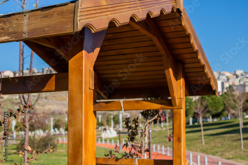 Tablou Canvas Garden arbour bench design detail