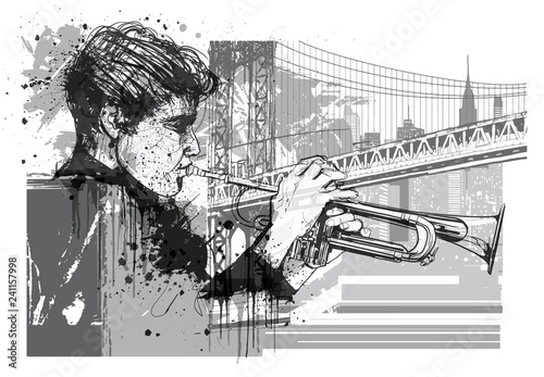Deurstickers Art Studio Trumpet player in New York (Brooklyn)