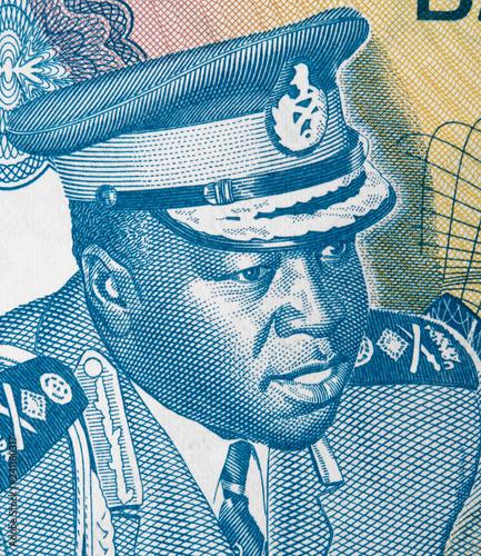 Fotografie, Obraz  Idi Amin Dada on Ugandan 5 shilling banknote, Uganda money currency close up