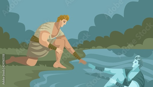 Narcissus gazing himself Wallpaper Mural