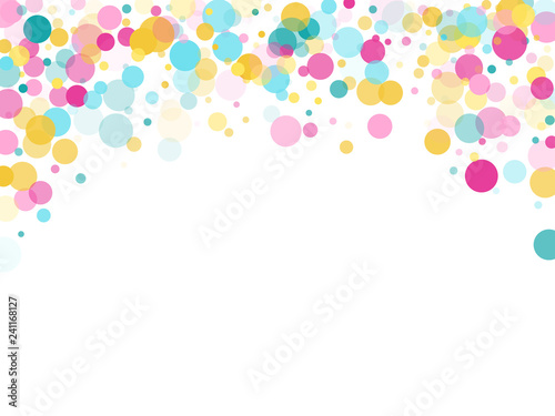 Fotografie, Obraz Memphis round confetti festive background in cyan blue, pink and yellow