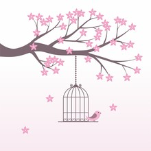 Romantic Cherry Blossom With Bird Cage Vector