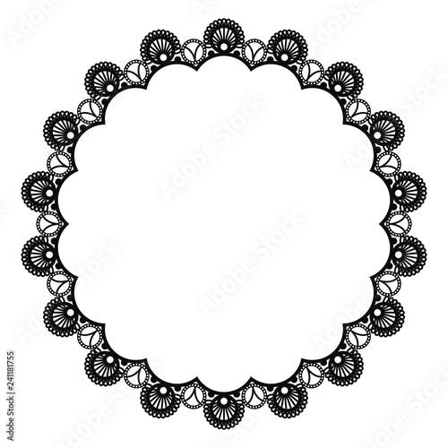 Valokuvatapetti Black Lace Doily Frame - Beautiful vintage style black lace doily frame with cop