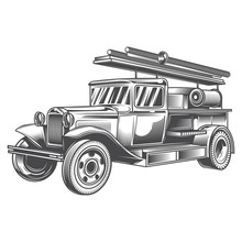 Black And White Fire Truck On White Background. Vector Illustration.