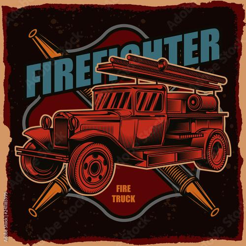 Obraz na plátne Vector logo of a fire truck on a dark background