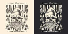 Christmas Emblem In Black And White Background. Skull Of Santa Claus In Vintage Style. Vector Illustration.