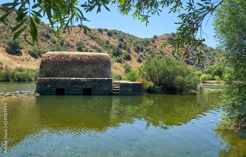 Old traditional watermills in the Guadiana river at Azenhas. Mertola. Portugal