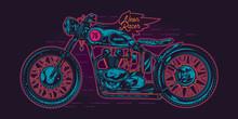 Neon Vintage Motorcycle. Original Vector Illustration Of A Motorcycle.