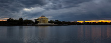 Panoramic View Of Thomas Jefferson Memorial During A Beautiful Cloudy Sunset. Taken In Washington, DC, United States.