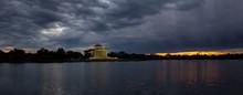Panoramic View Of Thomas Jefferson Memorial During A Beautiful Cloudy Sunset. Taken In Washington, DC, United States.