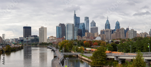 Canvas Prints Kuala Lumpur Philadelphia, Pennsylvania, United States - October 28, 2018: Panoramic view of a modern Downtown City during a cloudy day.