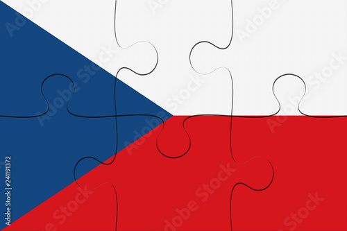 Photo  Czech Republic Flag Jigsaw Puzzle, 3d illustration background