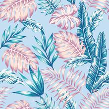 Summer Pattern Jungle Blue Background