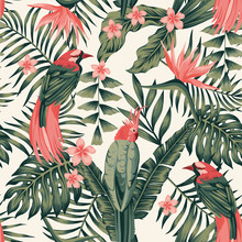 Tropical Plants Flowers Birds Abstract Colors Seamless