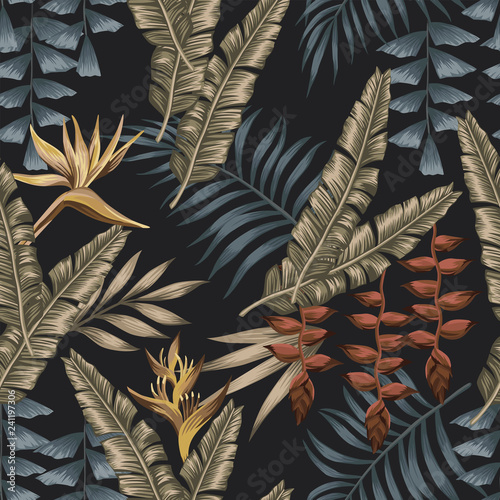 obraz lub plakat Exotic jungle seamless black background