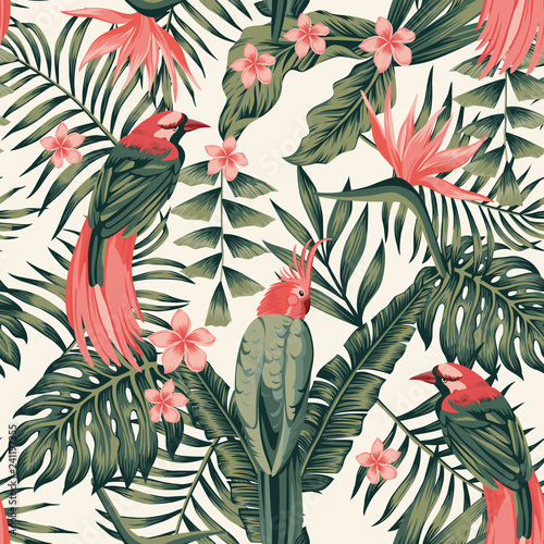 Photo Tropical plants flowers birds abstract colors seamless