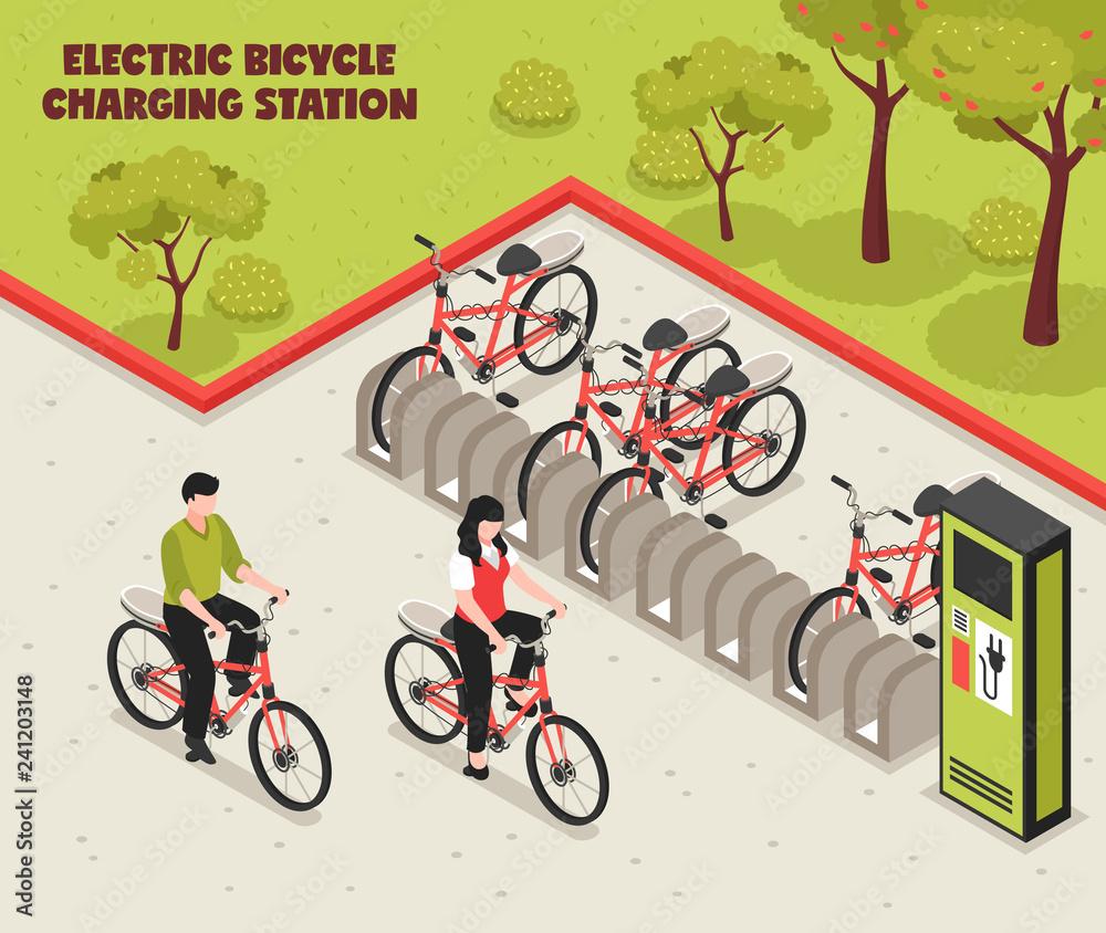 Fototapeta Electric Bicycle Charging Station