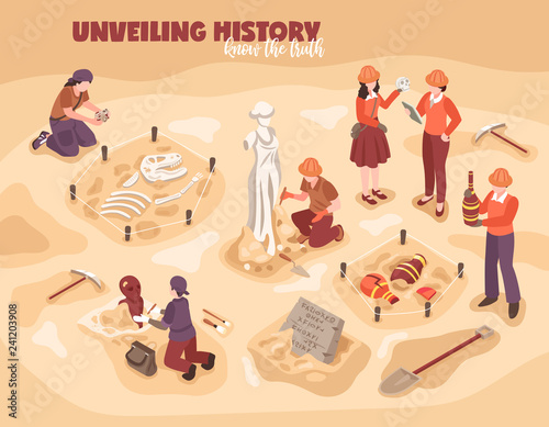 Foto  Archeology Isometric Illustration