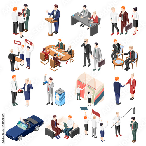 Leinwand Poster Politicians Isometric Icons