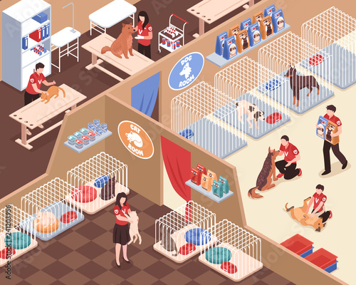 Animal Shelter Isometric Illustration