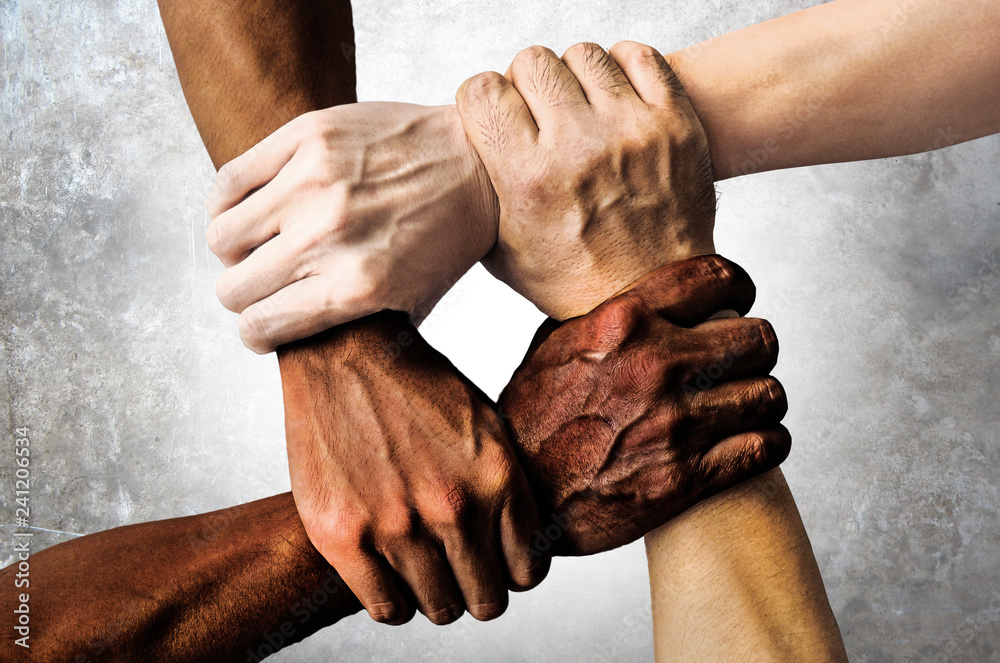 Fototapeta multiracial group with black african American Caucasian and Asian hands holding each other wrist in tolerance unity love and anti racism concept
