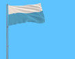 Isolate civil flag of San Marino on a flagpole fluttering in the wind on a blue background