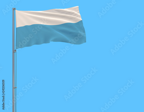 Fotografía  Isolate civil flag of San Marino on a flagpole fluttering in the wind on a blue