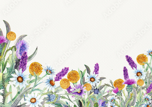 Fototapety, obrazy: Wedding round frame of wild flowers. Watercolor. Flower arrangement. Greeting card template design. Invitation background.